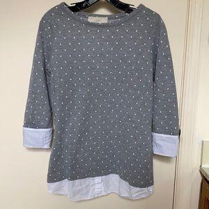 Loft 3/4 Sleeve Grey Polka Dot Top